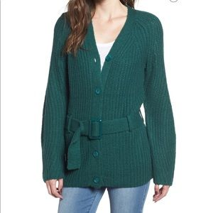 Leith Nordstrom chunky knit button front belted